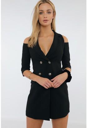 Dilvin Omuzları Açık Siyah Ceket Elbise