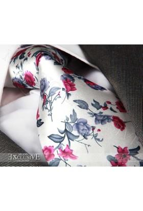 Exve Exclusive Pembe Gri Çiçek Baskılı Beyaz Kravat