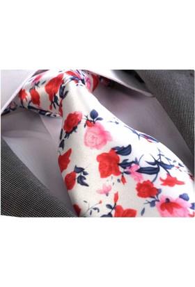 Exve Exclusive Kırmızı Çiçek Baskılı Kravat