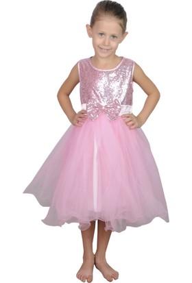Butikhappykids Kız Çocuk Pembe Payetli Abiye Elbise