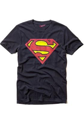 Superman Bisiklet Yaka Tshirt Regular Fit (Normal Kalıp) Lacivert