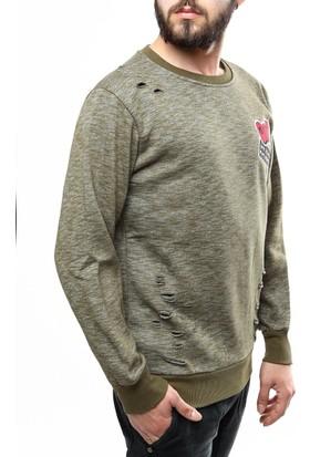 Madmext Armalı Haki Sweatshirt 1783