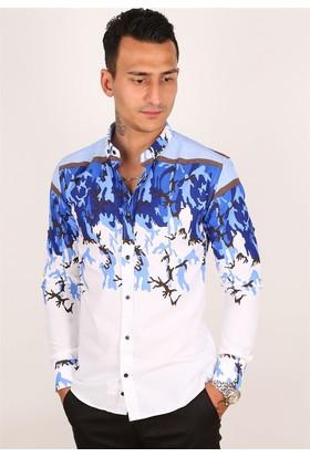 Madmext Mavi Kamuflaj Desenli Beyaz Gömlek 2024