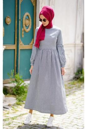 Abacı Kadın Siyah Beyaz Ekoseli Elbise 11785-R33-36