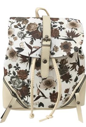 Çanta Stilim Krem Rengi 1523-K Kadın Sırt Çantası