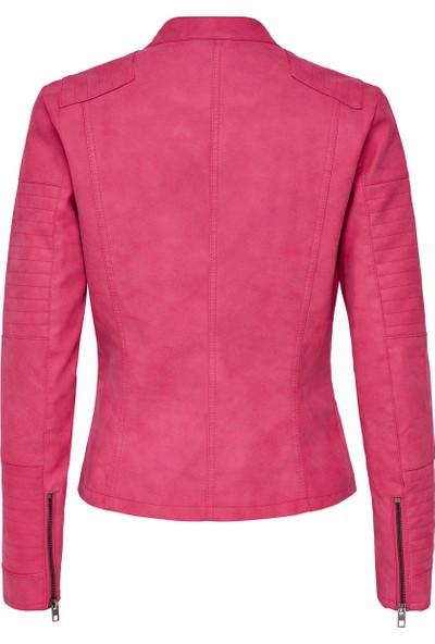 Only Kadın 15102997 Ava Faux Leather Biker Otw Noos Ceket Virtual Pink
