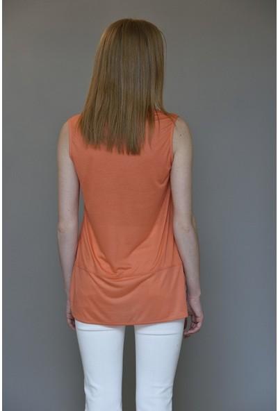 Mela D'oro Kadın Kolsuz V Yaka Tshirt