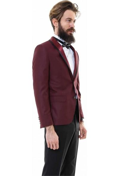 Wessi Erkek Çıkmalı Şal Yaka Bordo Damatlık Takım Elbise