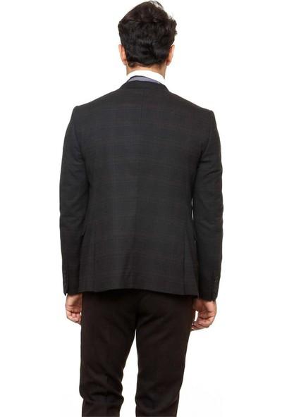 Wessi Erkek Ekose Yelekli Kombin Kahverengi Kaşe Kışlık Takım Elbise