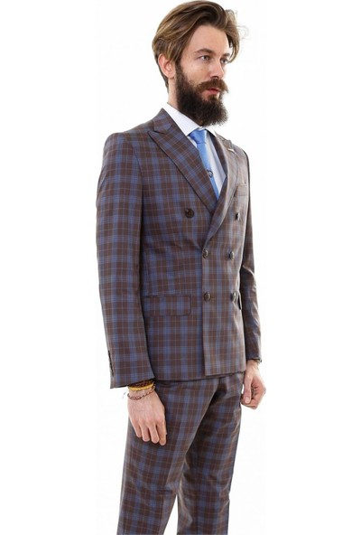 Wessi Erkek Ekose Kruvaze Kahverengi Takım Elbise