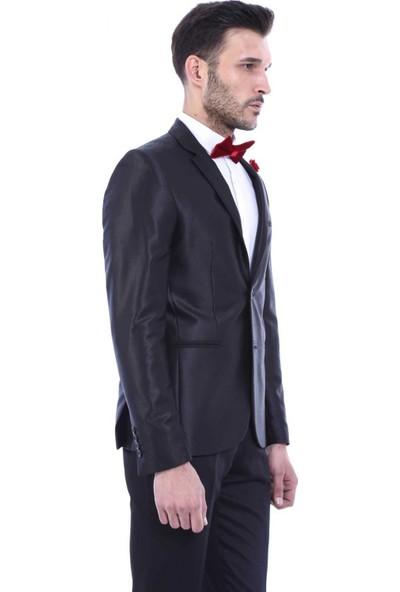 Wessi Erkek Yaka Biyeli Siyah Takım Elbise