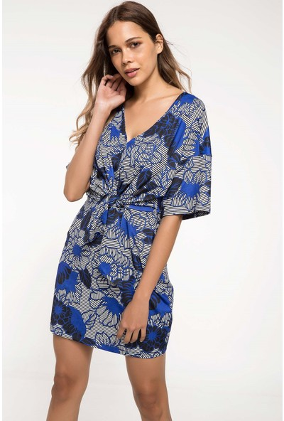 Defacto Bağlama Detaylı Desenli Elbise