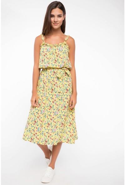 Defacto Belden Kuşak Detaylı Çiçek Desenli Askılı Elbise