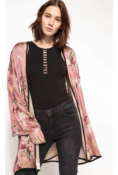 Defacto Çiçek Desenli İpek Ceket