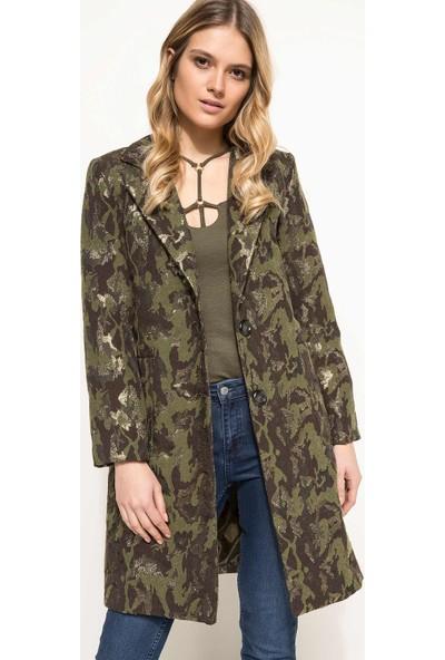 Defacto Desenli Uzun Ceket