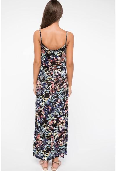 Defacto Desenli Uzun Elbise