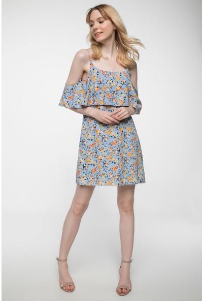 Defacto Kat Volan Detaylı Çiçek Desenli Askılı Elbise