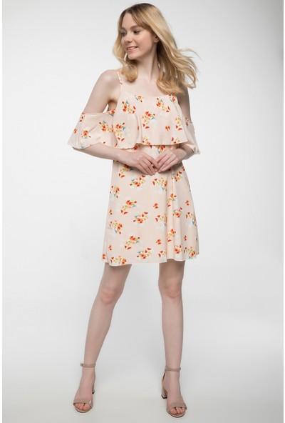 Defacto Kat Volan Detaylı Kareli Askılı Elbise