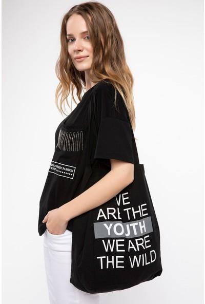 Defacto Slogan Baskılı Çanta