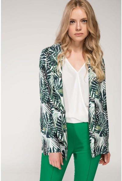 Defacto Tropik Desenli Blazer Ceket