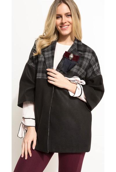 Defacto Yün Karışımlı Aksesuar Detaylı Oversize Ceket