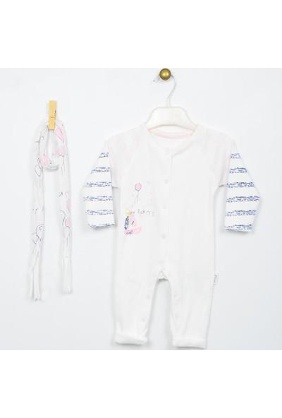 Wogi Kız Bebek Tulum Atkı 2'li Takım 0-6 Ay 5061
