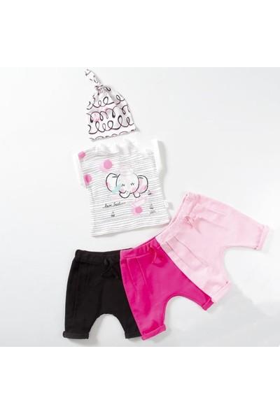Wogi Kız Bebek Body Şort Şapka 3'lü Takım 3-12 Ay 7432
