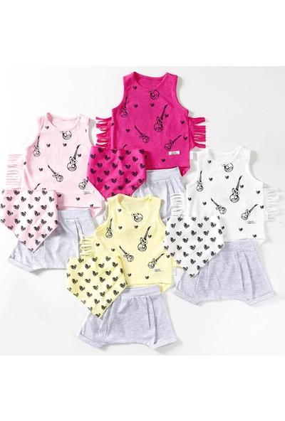Wogi Kız Bebek Askılı T-Shirt Şort Bandana 3'lü Takım 3-12 Ay 7448