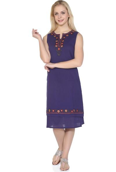 Eliş Şile Bezi Kolsuz Sibel Elbise