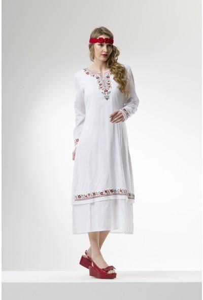 Eliş Şile Bezi Uzun Kol Sibel Elbise