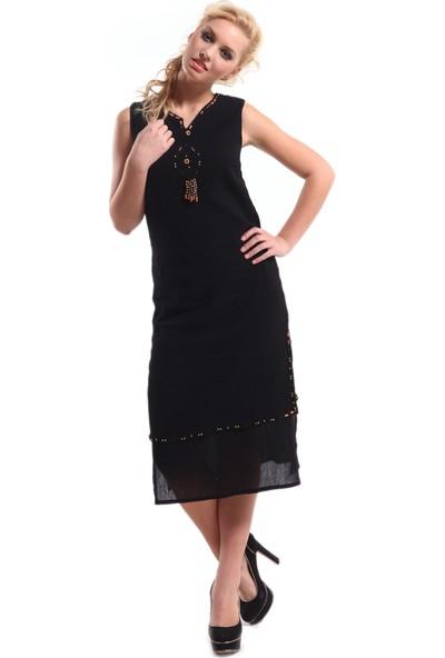 Eliş Şile Bezi Kolsuz Boncuklu Elbise