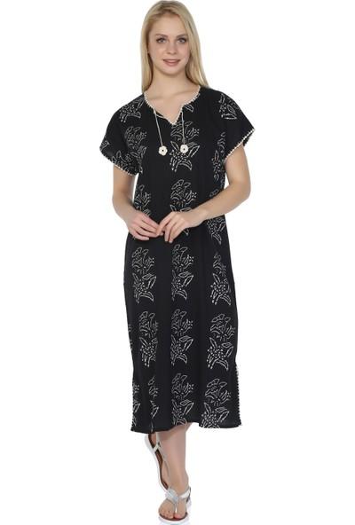 Eliş Şile Bezi Kısa Kol Baskılı Elbise Zambak Desen