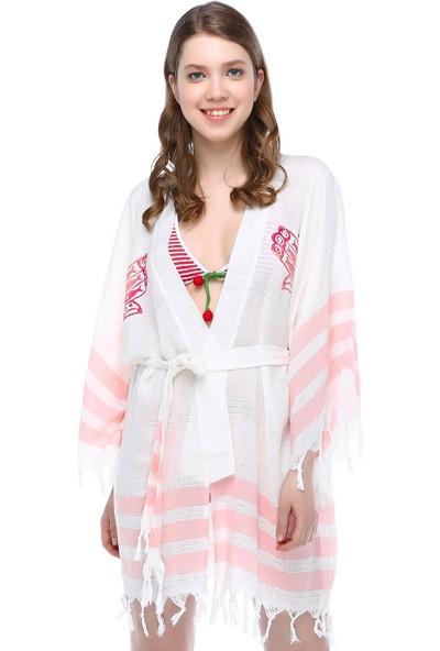 Mumu Kimono Doğal Baskılı Anadolu Tasarımı Pembe