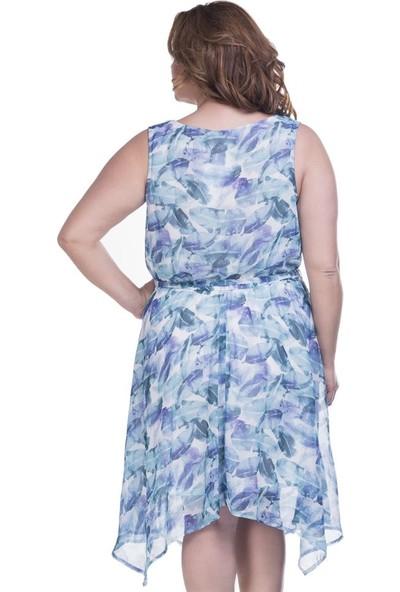 Myline Yaprak Desenli Şifon Elbise Astarlı