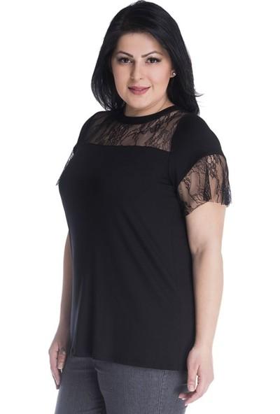 Myline Robası Ve Kolları Dantel Detaylı Viskon T-Shirt