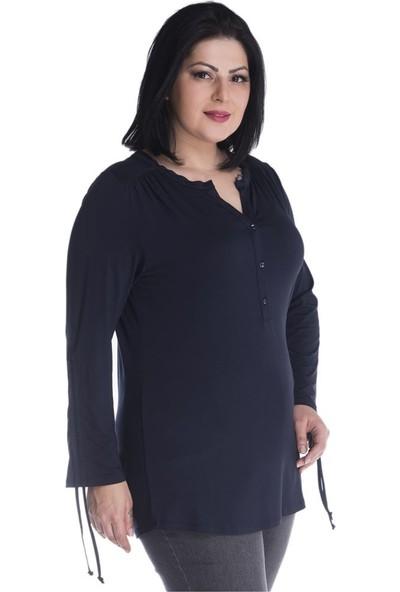 Myline Önü Yarım Patlı Kolları Ayarlamalı Penye Bluz