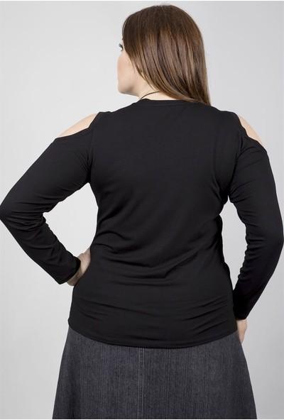 Myline Omuzları Açık Uzunkol Yumoş Kumaşdan Koleyli Bluz