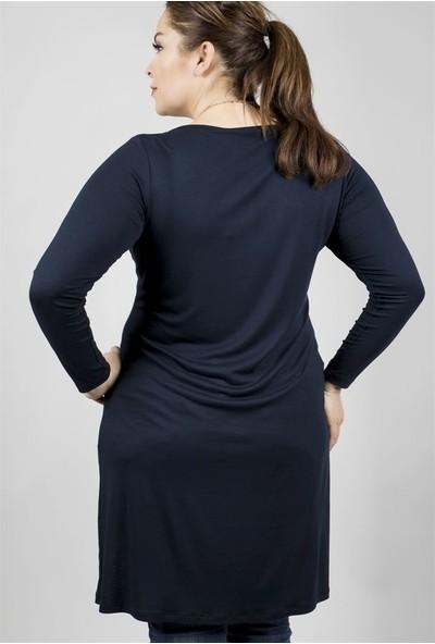 Myline Önü Asimetrik Kesimli Uzun T-Shirt