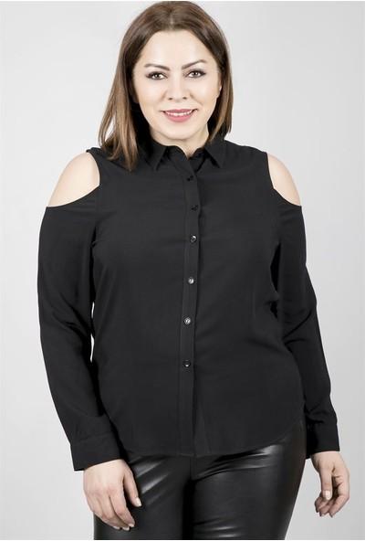 Myline Omuzları Açık Uzun Kollu Viskon Gömlek