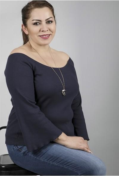 Myline Uzun Kollu Açık Yaka Kaşkorse Bluz