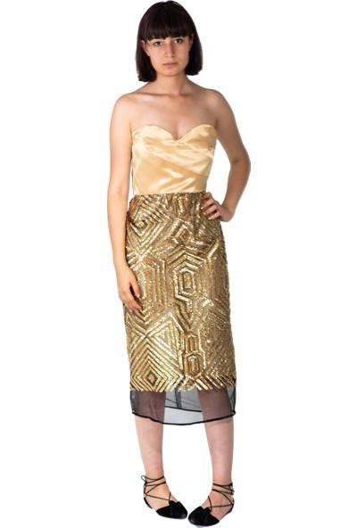 Kavshak Straplez Elbise