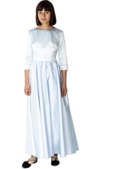 Kavshak Belden Büzgülü Uzun Elbise