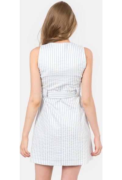 İroni Çizgili V Yaka Kolsuz Elbise - 5172-1243
