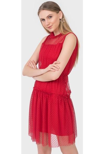 İroni Puantiye Tüllü Mini Abiye Elbise - 5176-1231