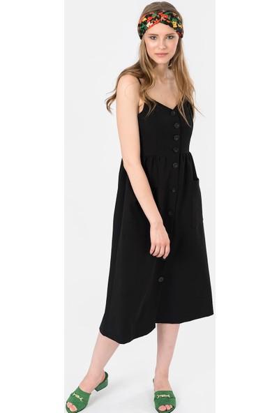 İroni Önden Düğmeli Askılı Midi Elbise - 5204-891