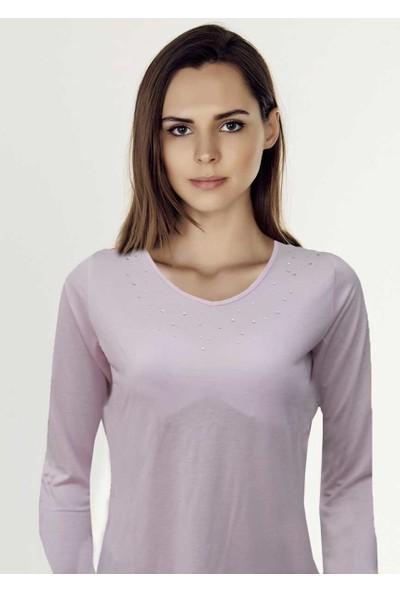 Mel Bee Uzun Kollu Taş İşlemeli Kadın T-Shirt D-26 Pembe