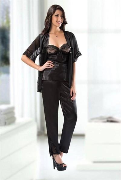 Ahu Lingerie 7108 3'Lü Saten Pijama Sabahlık Takımı Siyah