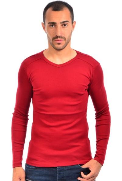 Dies Uzun Kol V Yaka Omuz Parçalı Kırmızı Sweatshirt