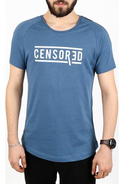 Madmext Fermuar Detaylı İndigo T-Shirt 2257