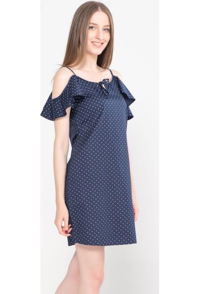 Vena Talia İndigo Çiçekli Denim Elbise
